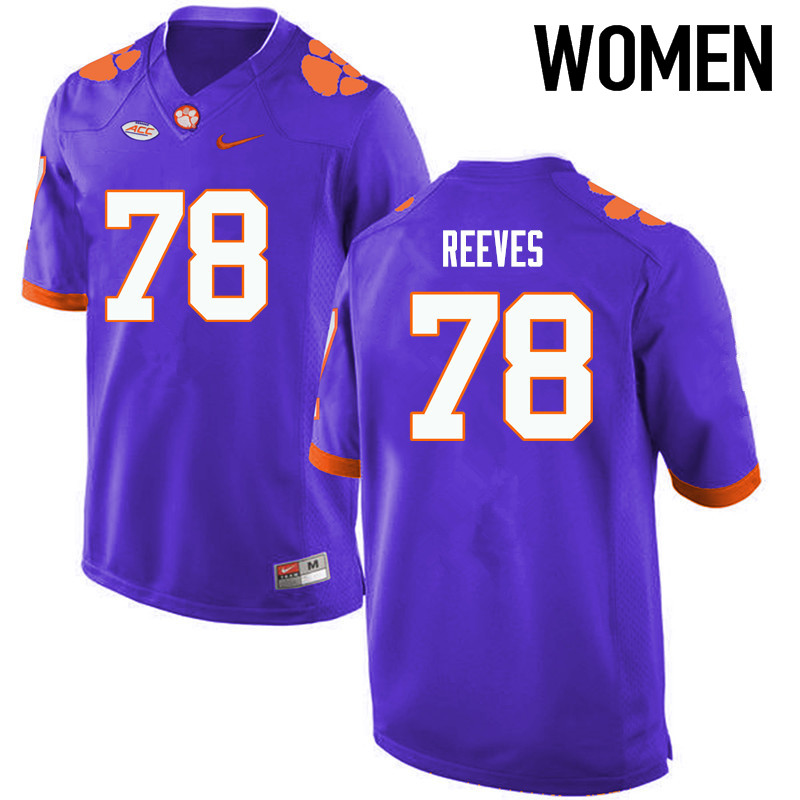 Women Clemson Tigers #78 Chandler Reeves College Football Jerseys-Purple