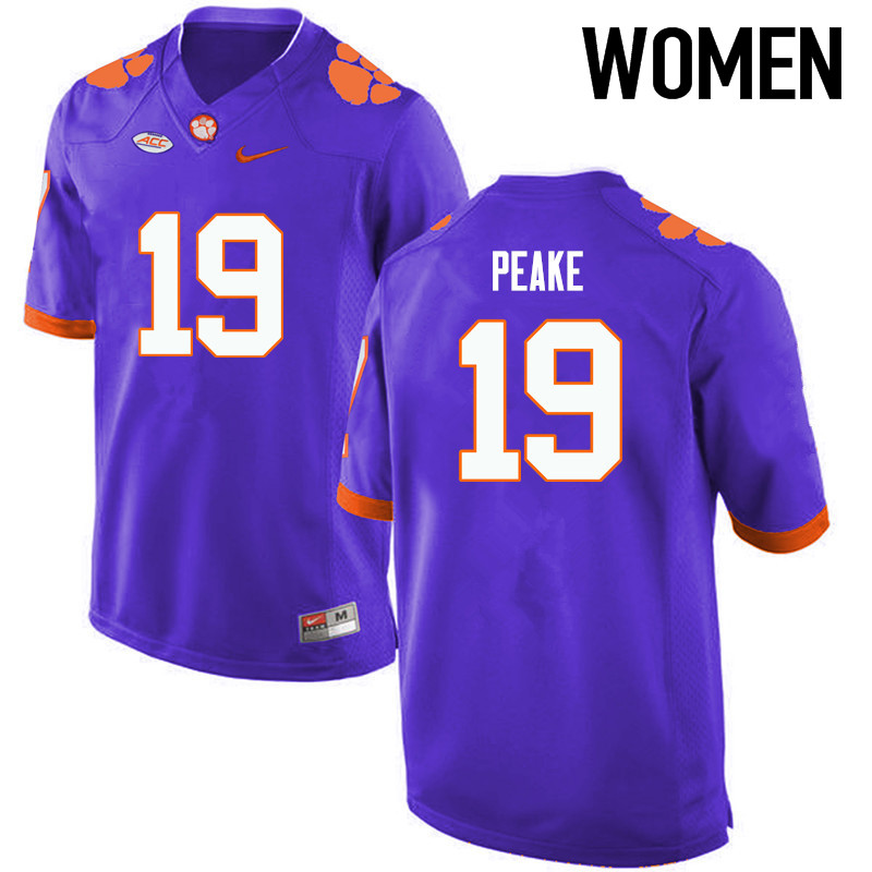Women Clemson Tigers #19 Charone Peake College Football Jerseys-Purple