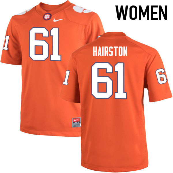 Women Clemson Tigers #61 Chris Hairston College Football Jerseys-Orange