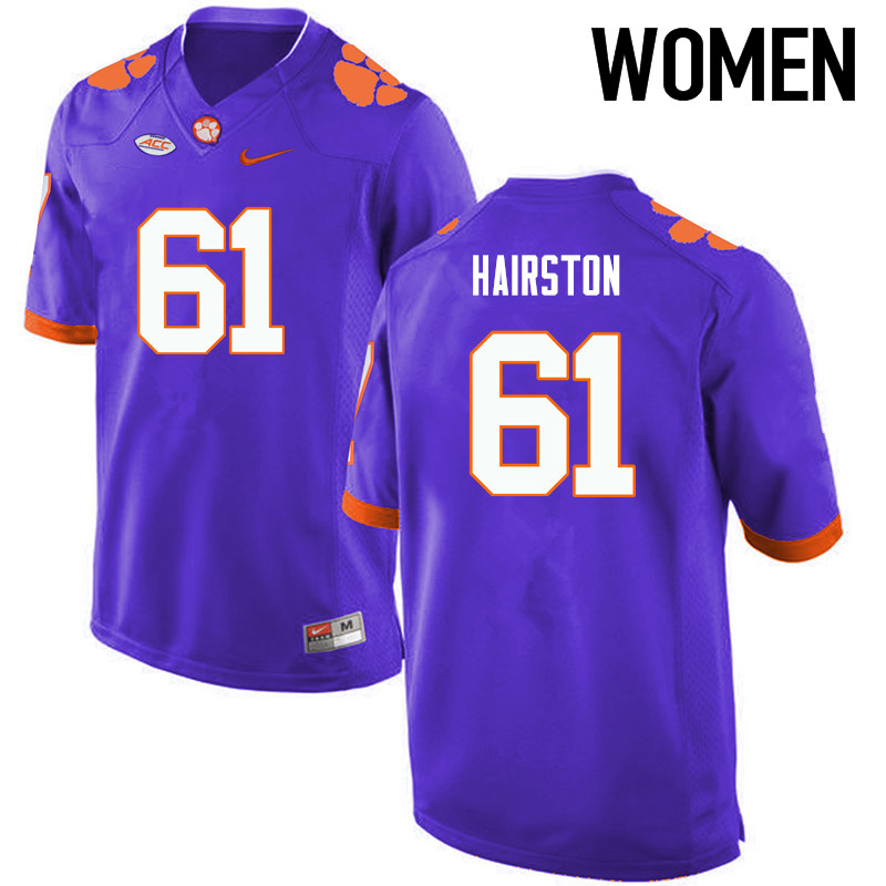 Women Clemson Tigers #61 Chris Hairston College Football Jerseys-Purple