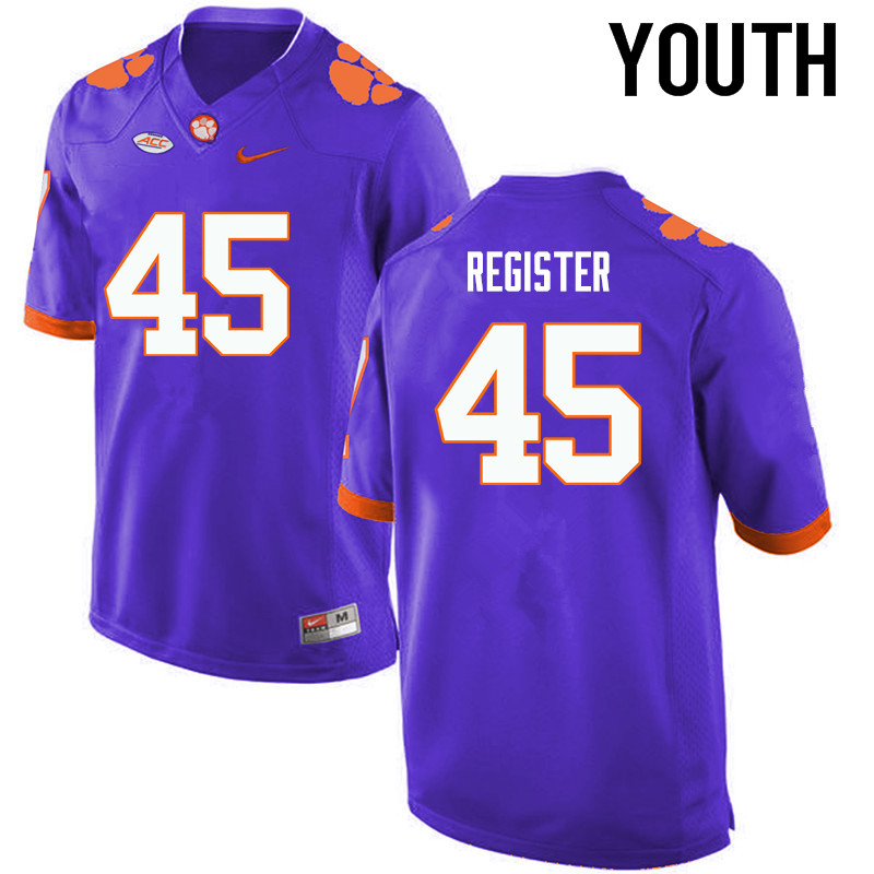 Youth Clemson Tigers #45 Chris Register College Football Jerseys-Purple