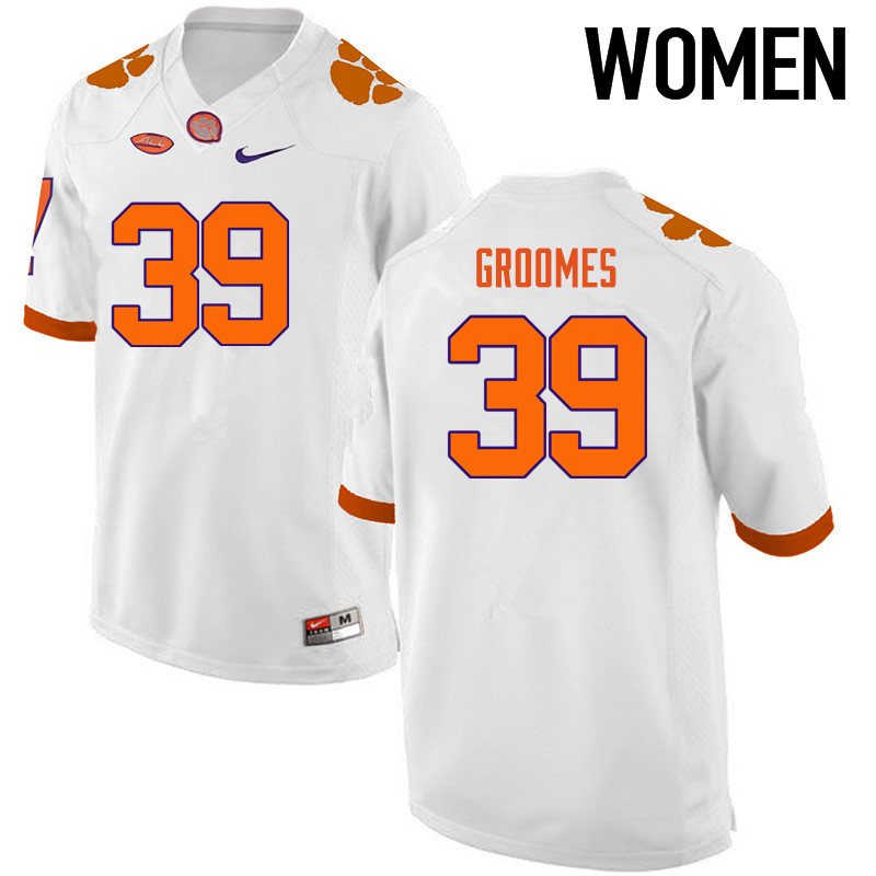 Women Clemson Tigers #39 Christian Groomes College Football Jerseys-White