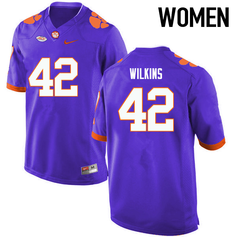 Women Clemson Tigers #42 Christian Wilkins College Football Jerseys-Purple