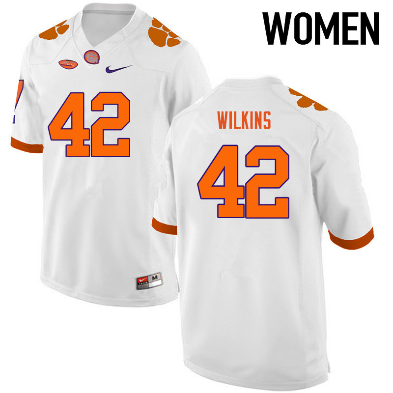 Women Clemson Tigers #42 Christian Wilkins College Football Jerseys-White