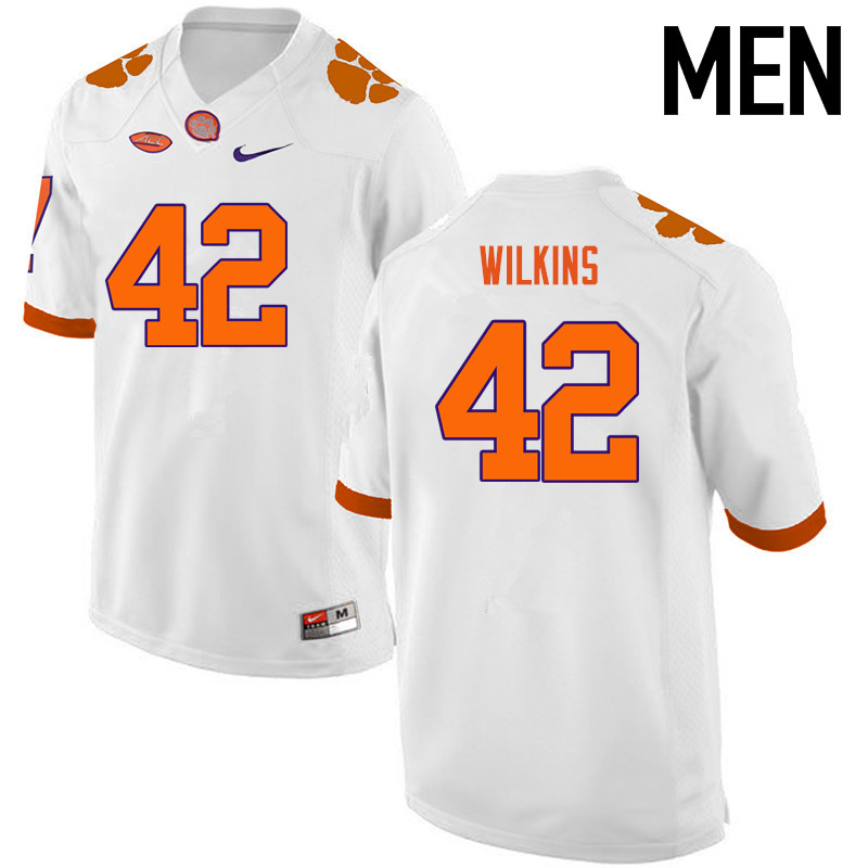 Men Clemson Tigers #42 Christian Wilkins College Football Jerseys-White