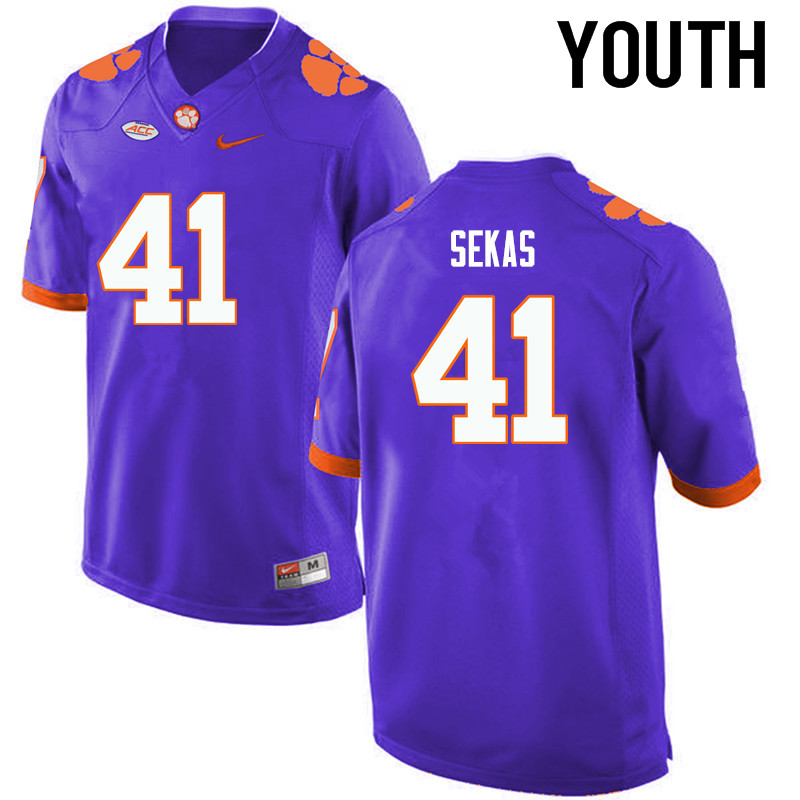 Youth Clemson Tigers #41 Connor Sekas College Football Jerseys-Purple