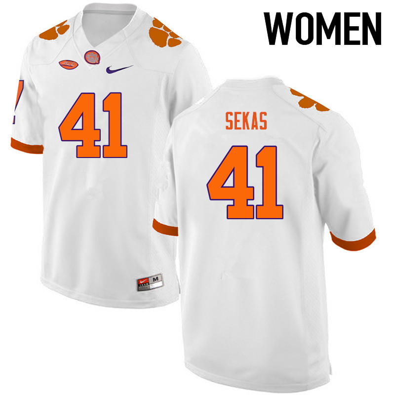Women Clemson Tigers #41 Connor Sekas College Football Jerseys-White