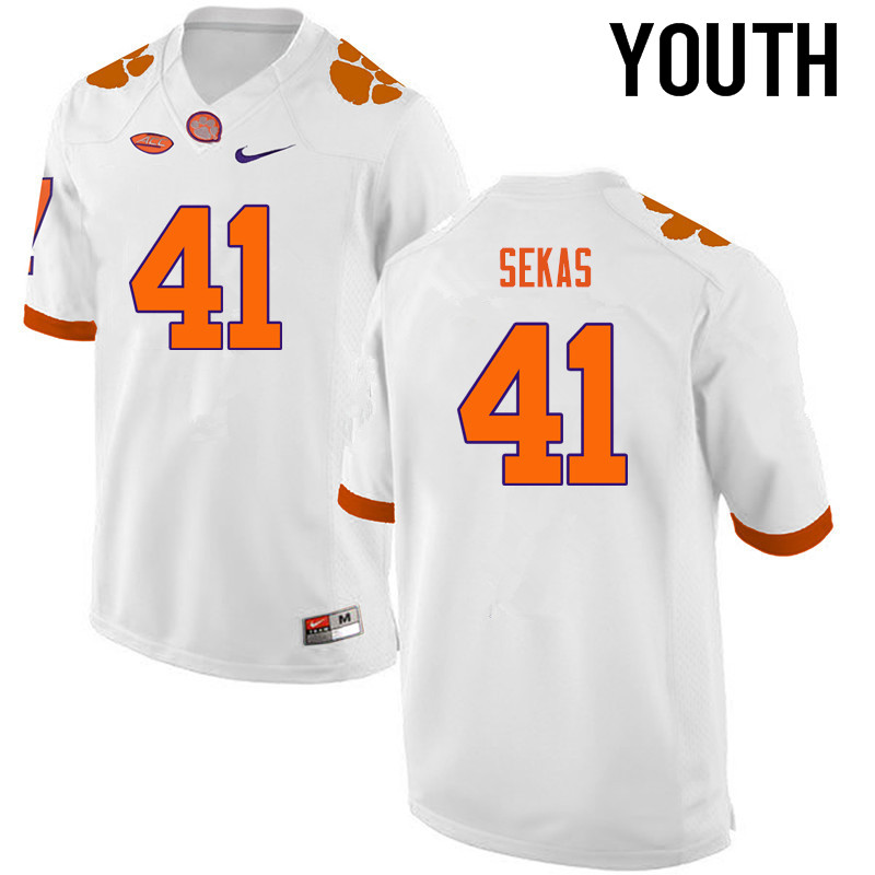 Youth Clemson Tigers #41 Connor Sekas College Football Jerseys-White