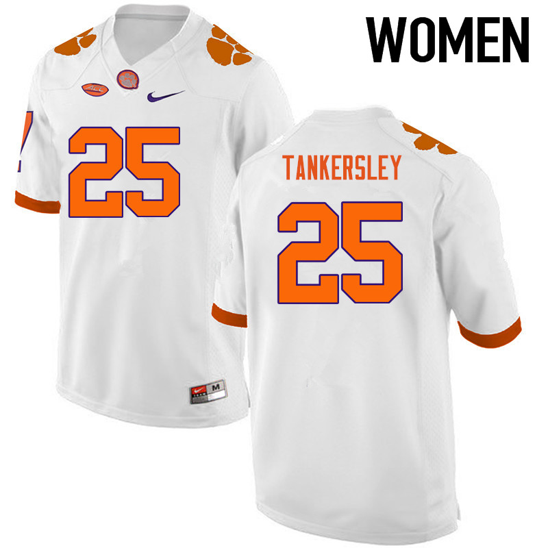 Women Clemson Tigers #25 Cordrea Tankersley College Football Jerseys-White