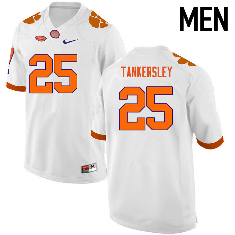 Men Clemson Tigers #25 Cordrea Tankersley College Football Jerseys-White