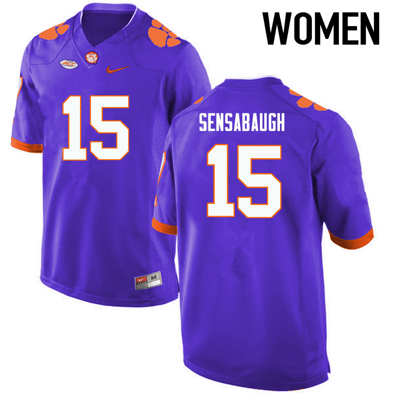 Women Clemson Tigers #15 Coty Sensabaugh College Football Jerseys-Purple