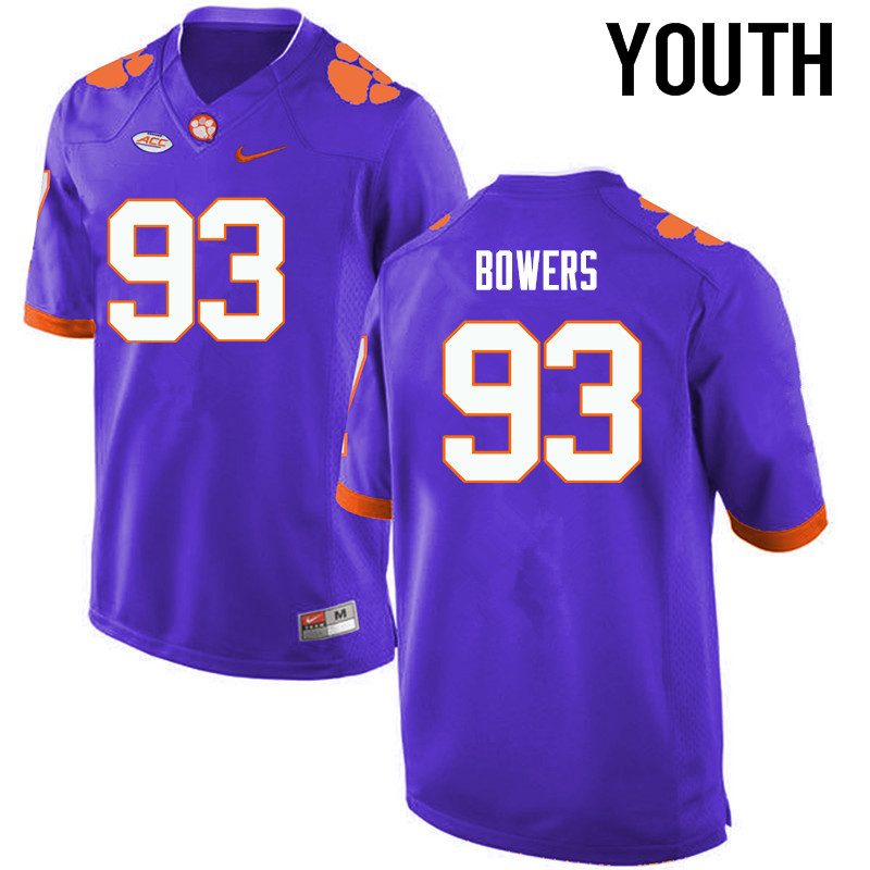 Youth Clemson Tigers #93 DaQuan Bowers College Football Jerseys-Purple