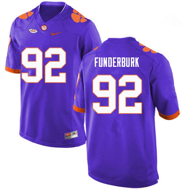 Men #92 Daniel Funderburk Clemson Tigers College Football Jerseys Sale-Purple