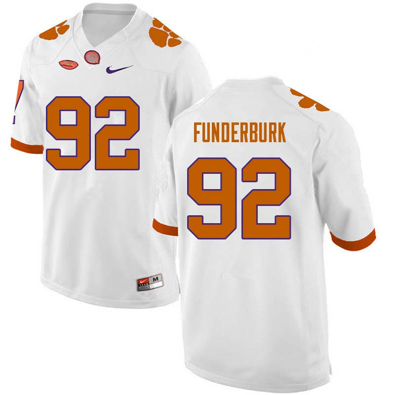 Men #92 Daniel Funderburk Clemson Tigers College Football Jerseys Sale-White