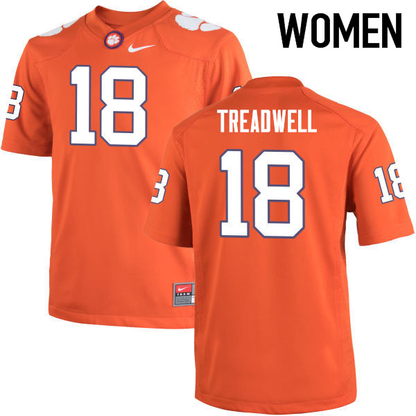 Women Clemson Tigers #18 David Treadwell College Football Jerseys-Orange