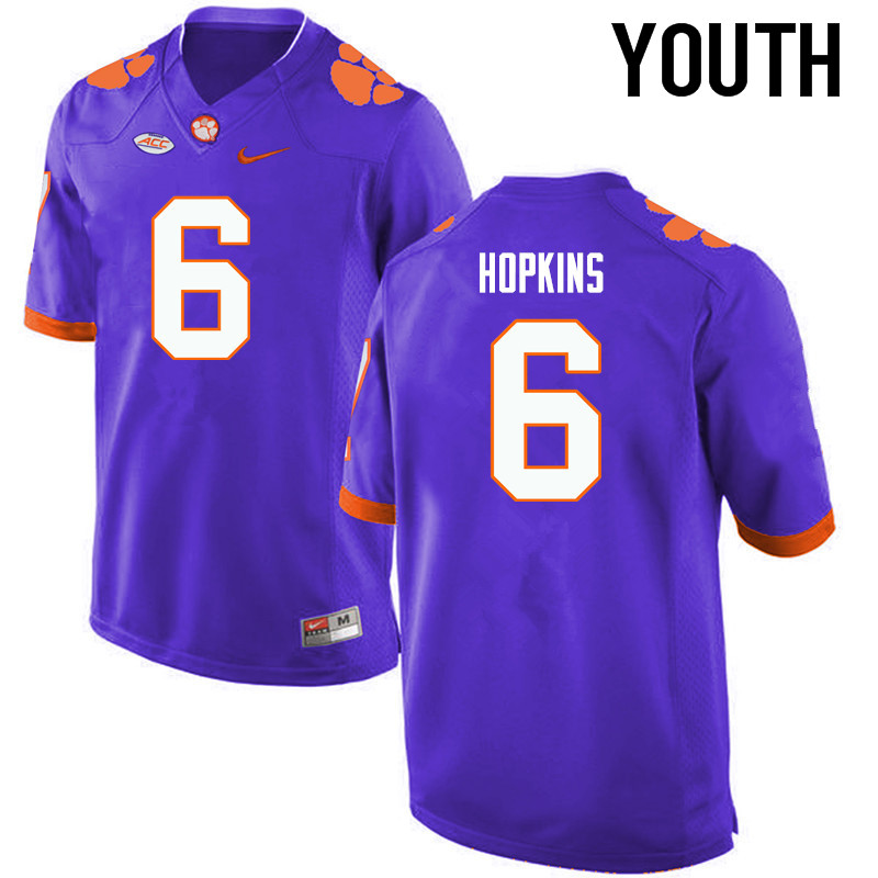 Youth Clemson Tigers #6 DeAndre Hopkins College Football Jerseys-Purple