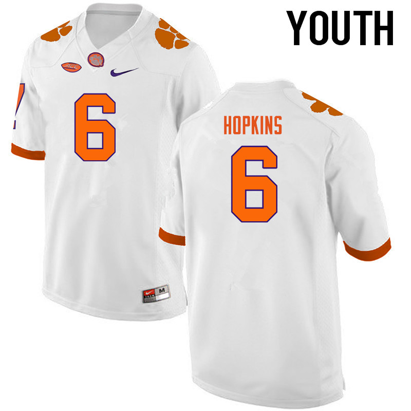Youth Clemson Tigers #6 DeAndre Hopkins College Football Jerseys-White