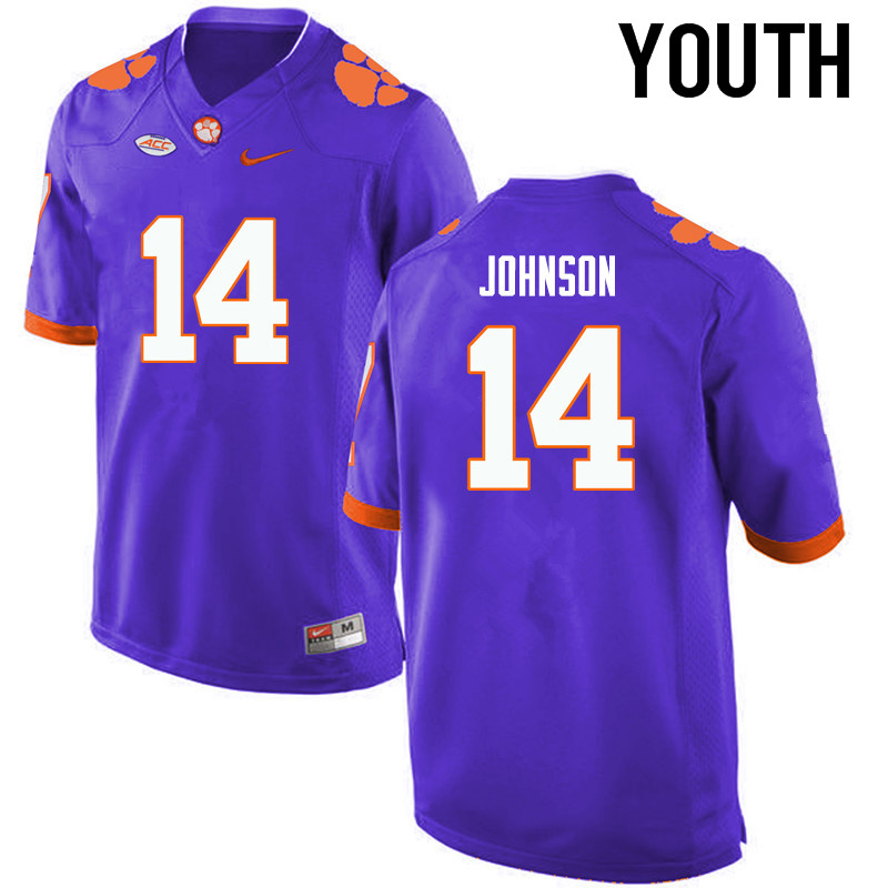 Youth Clemson Tigers #14 Denzel Johnson College Football Jerseys-Purple