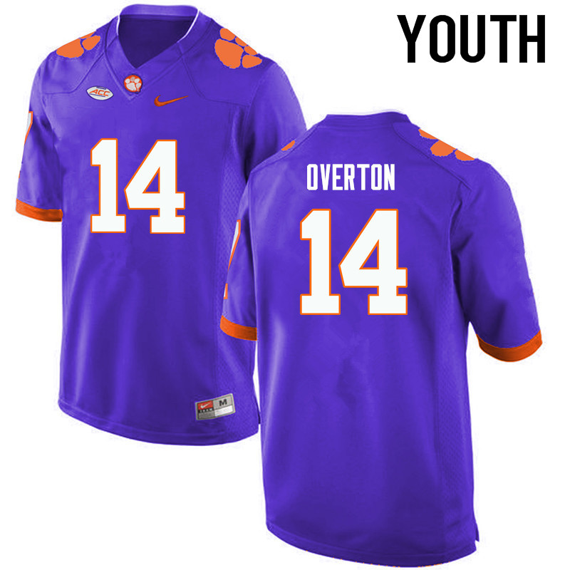 Youth Clemson Tigers #14 Diondre Overton College Football Jerseys-Purple