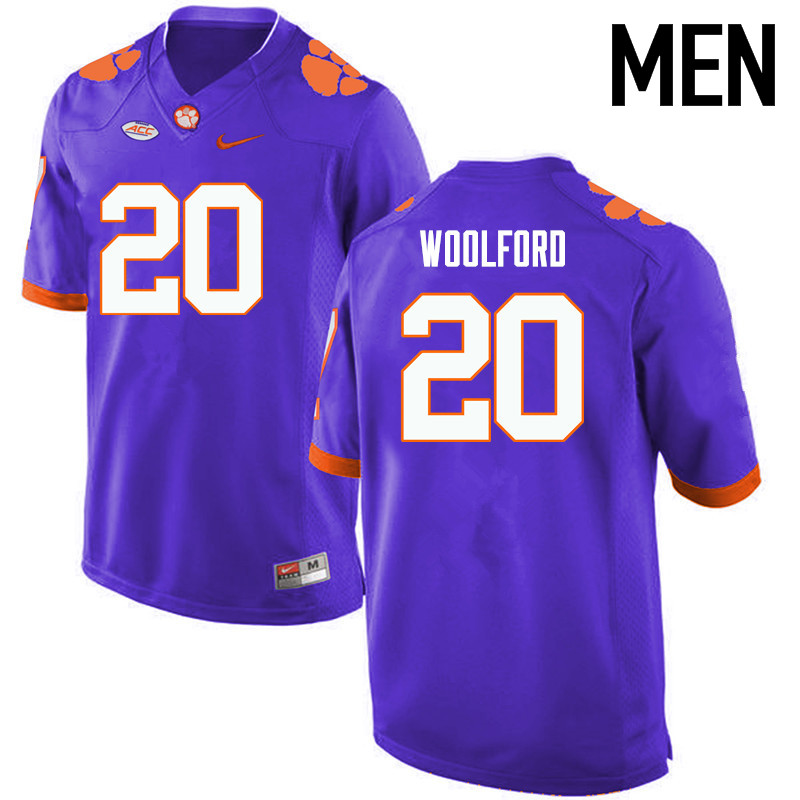 Men Clemson Tigers #20 Donnell Woolford College Football Jerseys-Purple