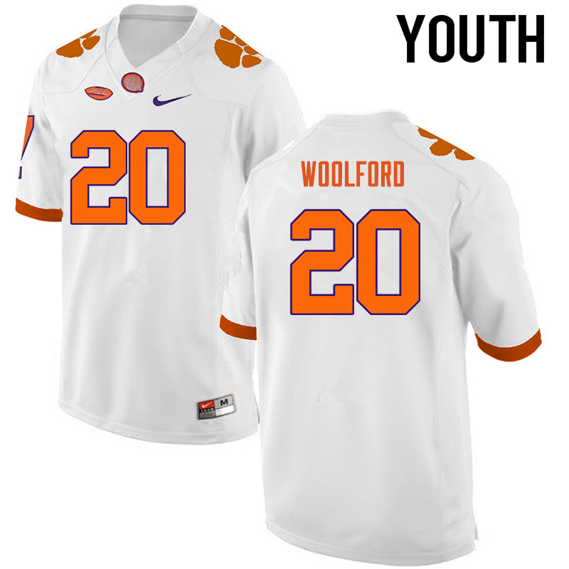 Youth Clemson Tigers #20 Donnell Woolford College Football Jerseys-White