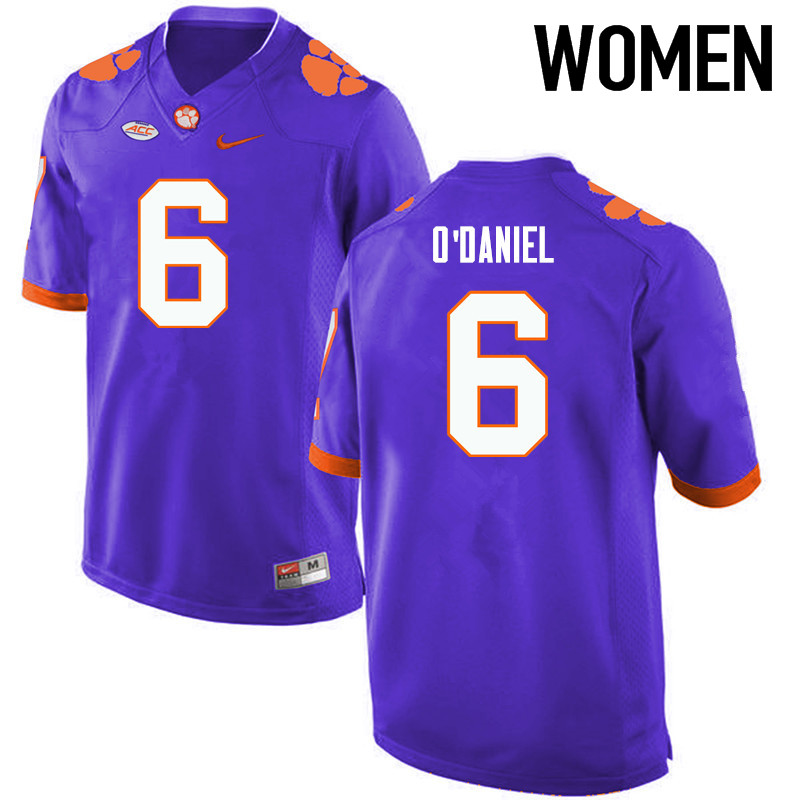 Women Clemson Tigers #6 Dorian ODaniel College Football Jerseys-Purple