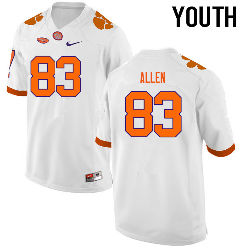 Youth Clemson Tigers #83 Dwayne Allen College Football Jerseys-White