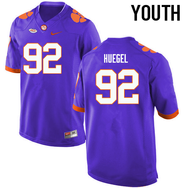 Youth Clemson Tigers #92 Greg Huegel College Football Jerseys-Purple