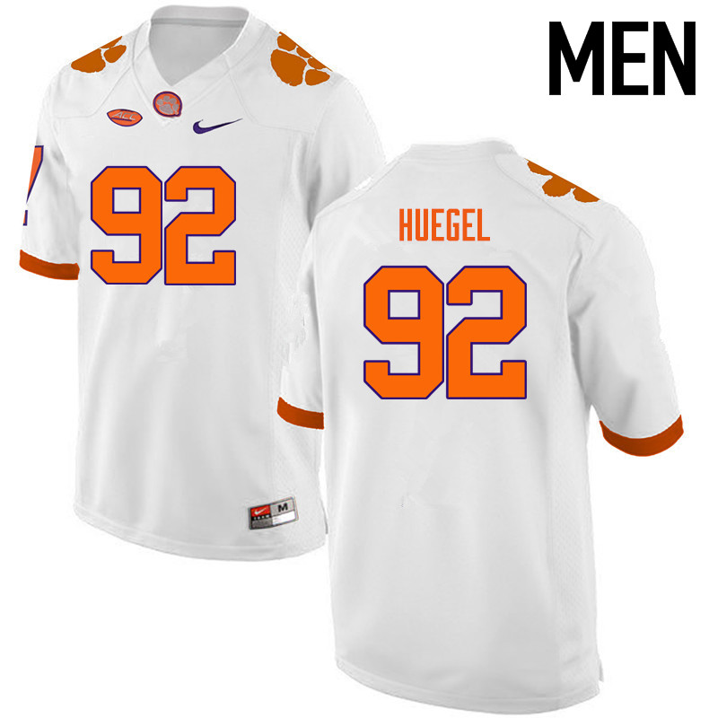 Men Clemson Tigers #92 Greg Huegel College Football Jerseys-White