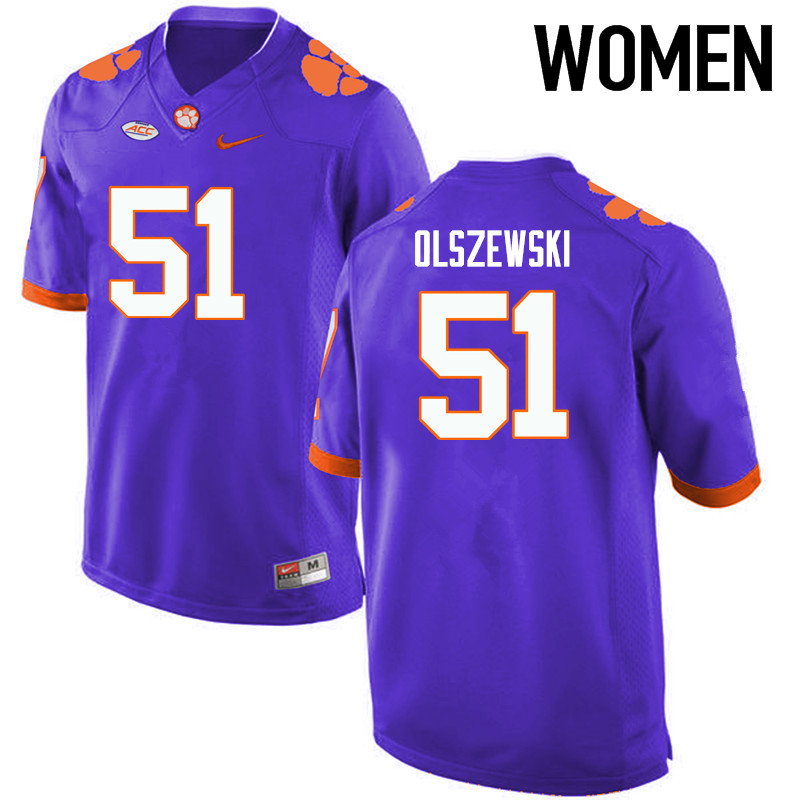 Women Clemson Tigers #51 Harry Olszewski College Football Jerseys-Purple