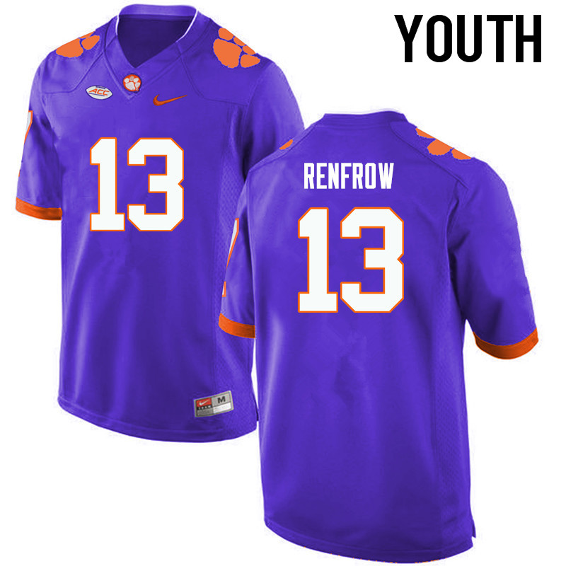 Youth Clemson Tigers #13 Hunter Renfrow College Football Jerseys-Purple