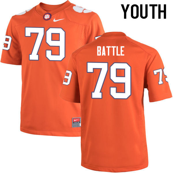 Youth Clemson Tigers #79 Isaiah Battle College Football Jerseys-Orange