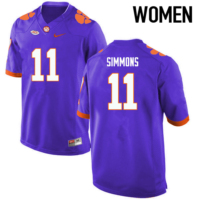 Women Clemson Tigers #11 Isaiah Simmons College Football Jerseys-Purple