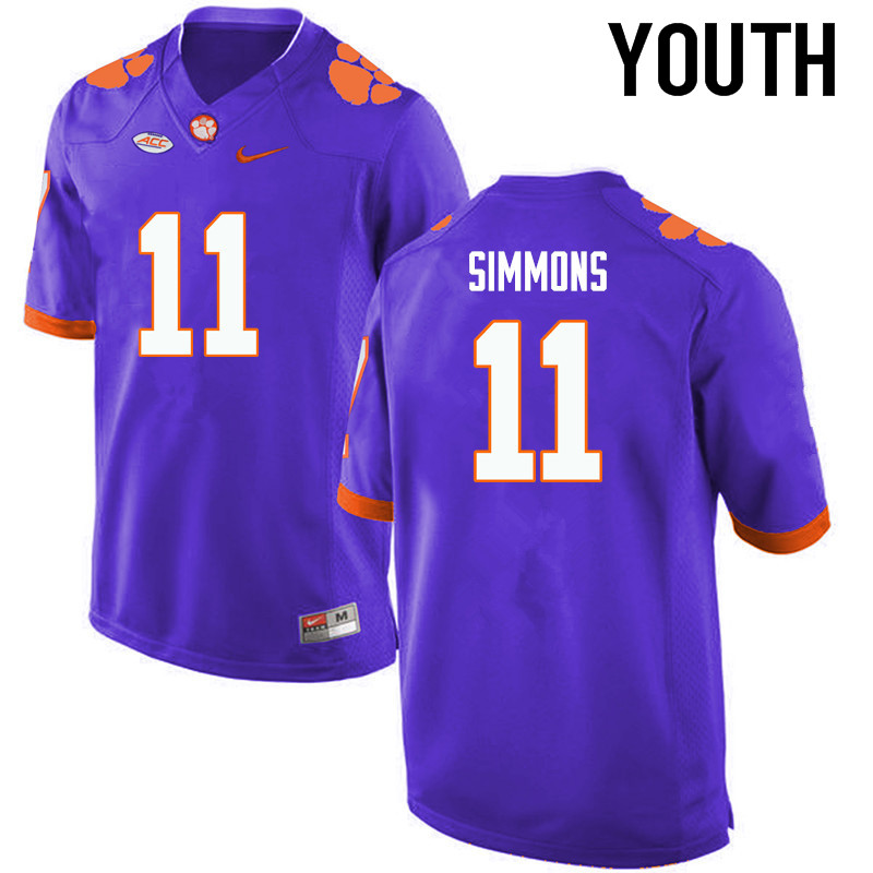 Youth Clemson Tigers #11 Isaiah Simmons College Football Jerseys-Purple
