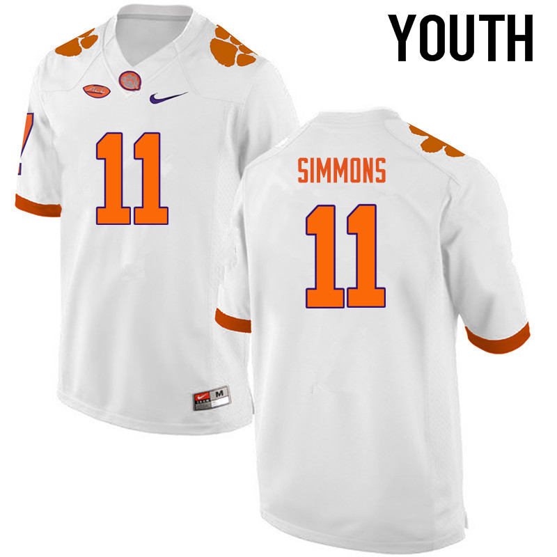 Youth Clemson Tigers #11 Isaiah Simmons College Football Jerseys-White
