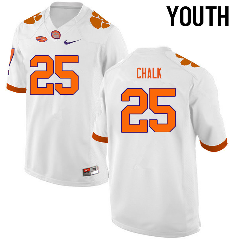 Youth Clemson Tigers #25 J.C. Chalk College Football Jerseys-White