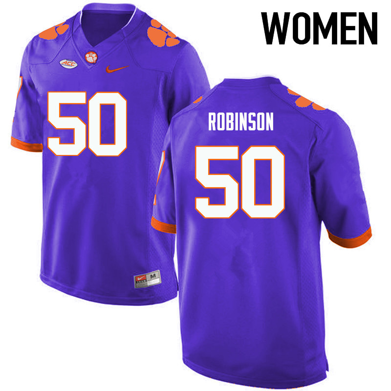 Women Clemson Tigers #50 Jabril Robinson College Football Jerseys-Purple