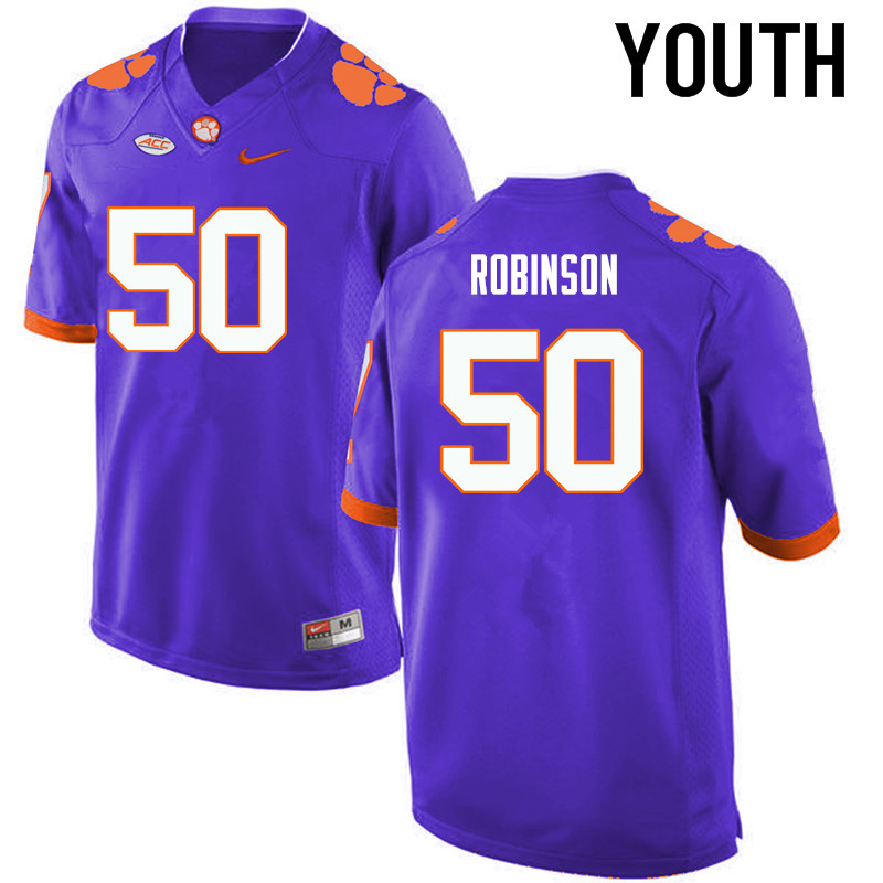 Youth Clemson Tigers #50 Jabril Robinson College Football Jerseys-Purple