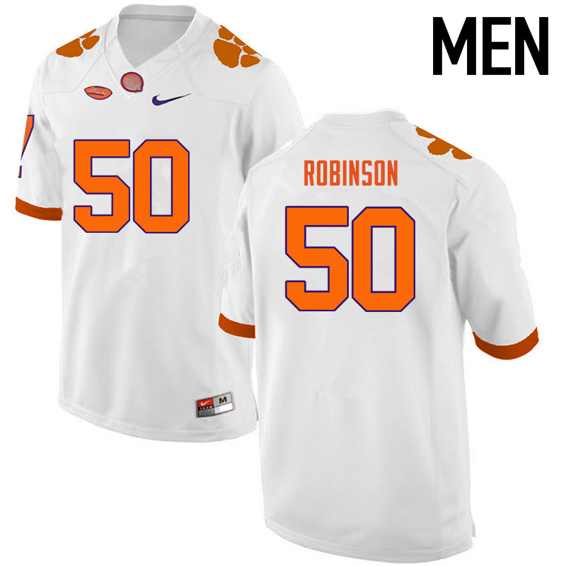 Men Clemson Tigers #50 Jabril Robinson College Football Jerseys-White