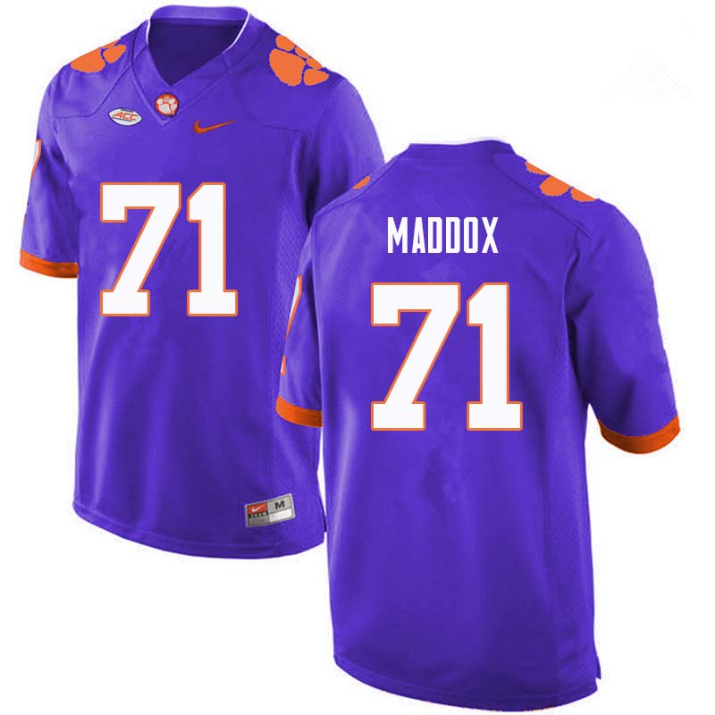 Men #71 Jack Maddox Clemson Tigers College Football Jerseys Sale-Purple