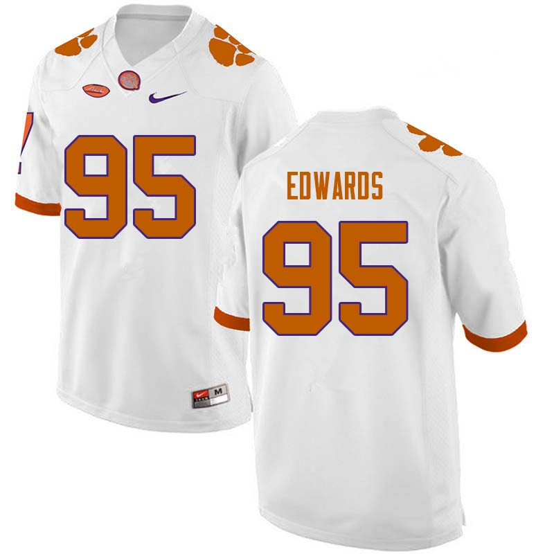 Men #95 James Edwards Clemson Tigers College Football Jerseys Sale-White