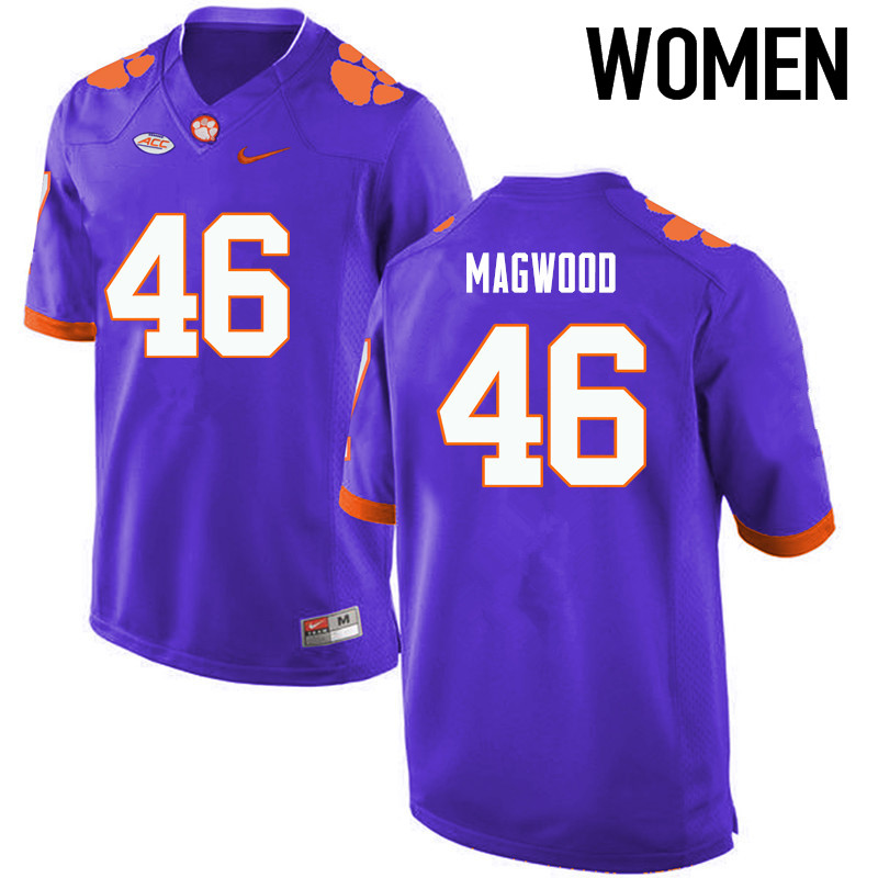 Women Clemson Tigers #46 Jarvis Magwood College Football Jerseys-Purple