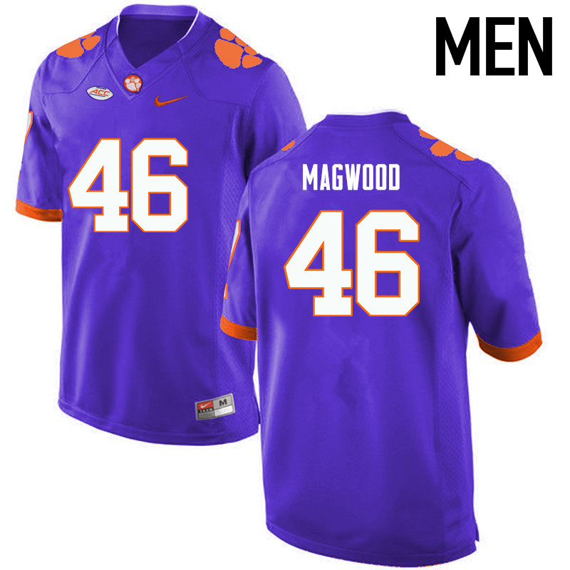 Men Clemson Tigers #46 Jarvis Magwood College Football Jerseys-Purple