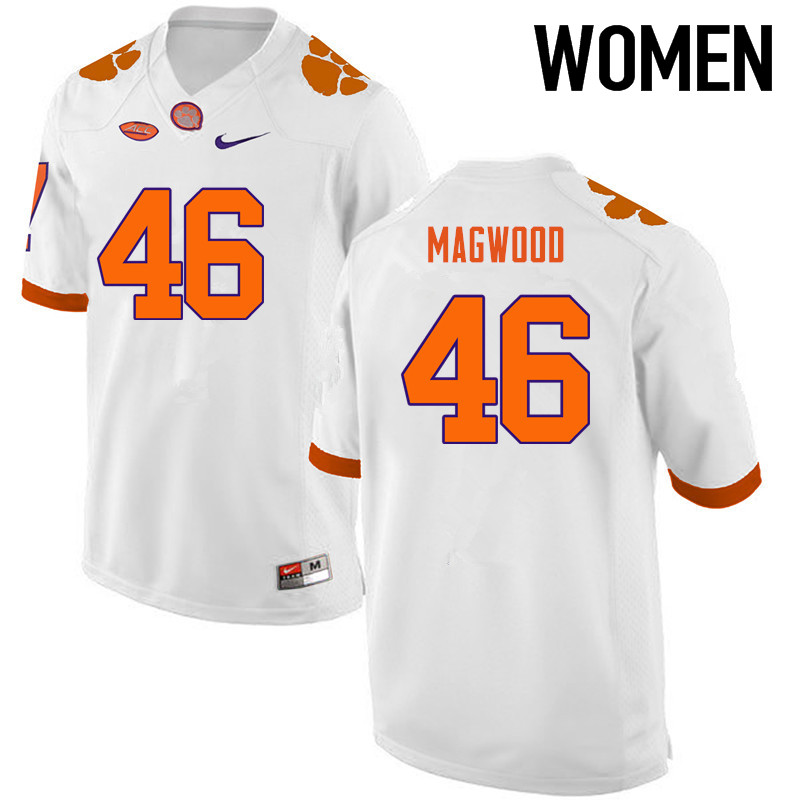 Women Clemson Tigers #46 Jarvis Magwood College Football Jerseys-White