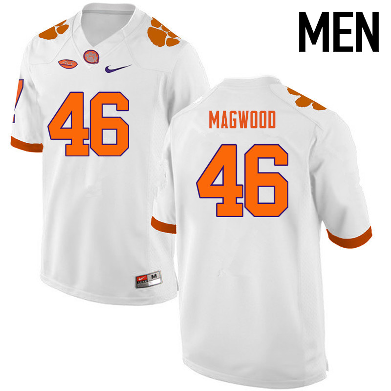 Men Clemson Tigers #46 Jarvis Magwood College Football Jerseys-White