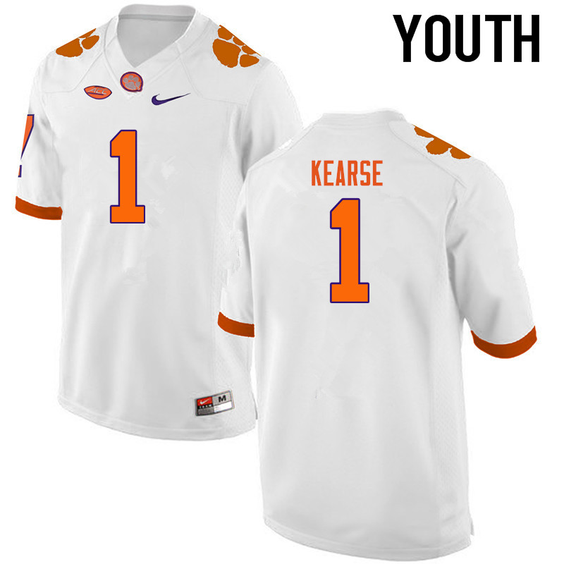 Youth Clemson Tigers #1 Jayron Kearse College Football Jerseys-White