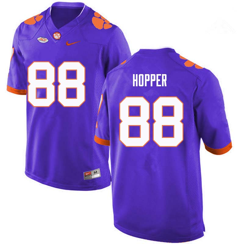 Men #88 Jayson Hopper Clemson Tigers College Football Jerseys Sale-Purple