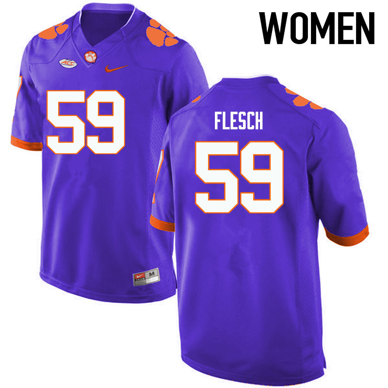 Women Clemson Tigers #59 Jeb Flesch College Football Jerseys-Purple