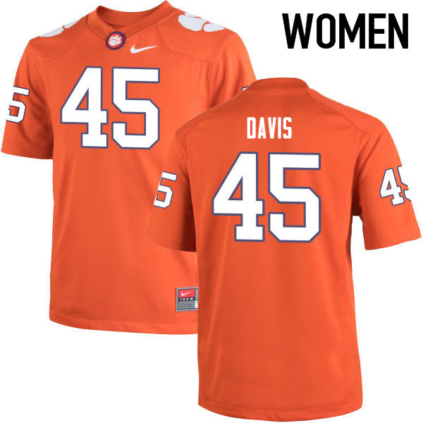 Women Clemson Tigers #45 Jeff Davis College Football Jerseys-Orange