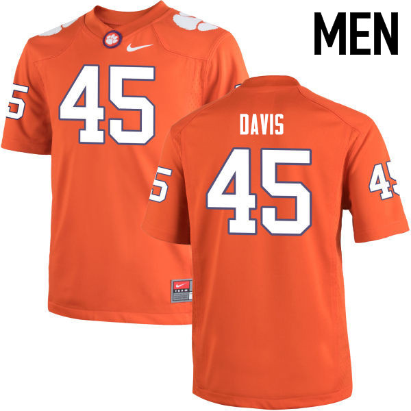 Men Clemson Tigers #45 Jeff Davis College Football Jerseys-Orange
